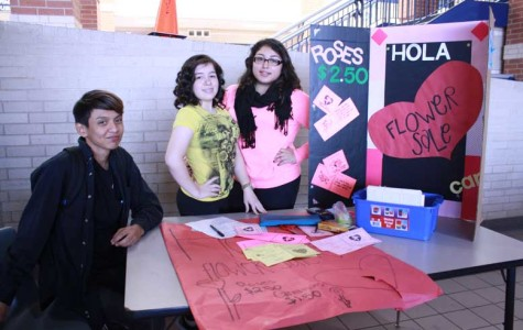 Daniel Ruiz, Veronica Vasquez and Diany Paz promote the HOLA Valentine's Day sale during lunch.