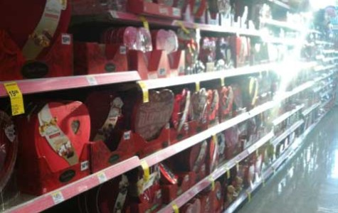 Chocolate hearts and assorted candies are ready for the purchasing weeks before Valentine's Day approaches.