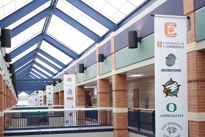 Cy-Ridge hallways sport collegiate banners