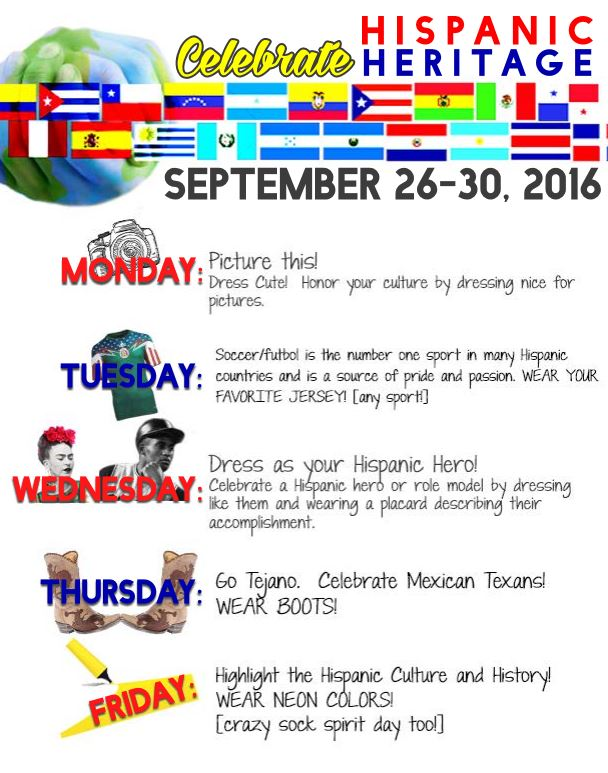 The dress up days for this Hispanic Heritage Week as chosen by PALS.