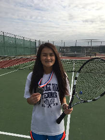 Kaitlyn Nguyen shows off her gold medal after tennis tournament!!