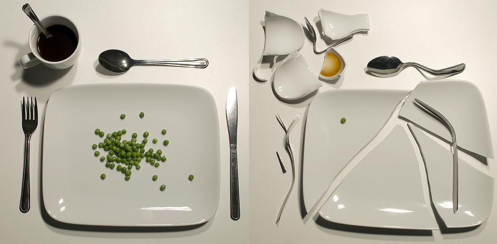 The broken plates represents the enigma around food when it comes to eating disorders.