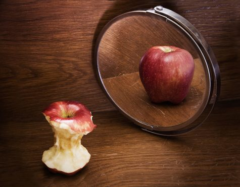 An apple that's all eaten up and thin see's its refection in the mirror as full and fat.