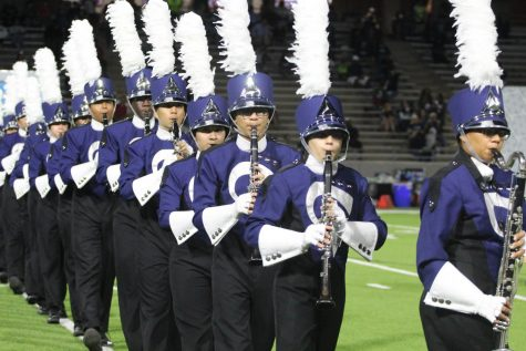 Band performs during half time at a football game on Oct. 26, 2017.