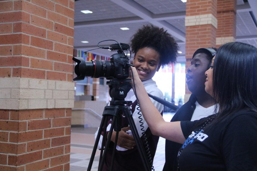 AVP students learn how to work the camera equipment to produce films and broadcasts.