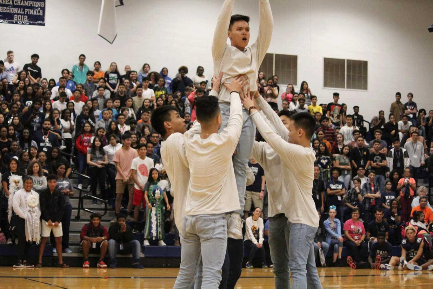 The B Boys performed for all three pep rallies as well as the Spring Show aside the Dazzlers with new participants joining in expanding the group more this school year.